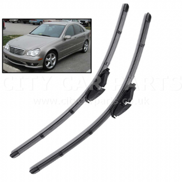 "22"" 22"" For Mercedes C-Class W203 04-07 Front Windscreen Flat Wiper Blades Set"